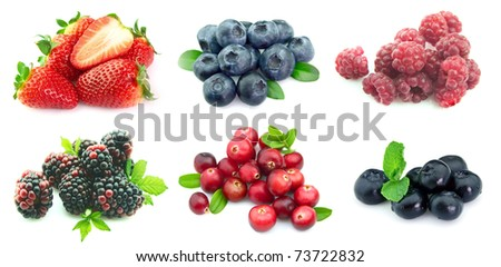 Collection of berries close up on a white background