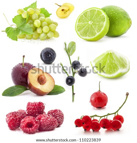 Collection of berry and fruit isolated on white background - stock photo