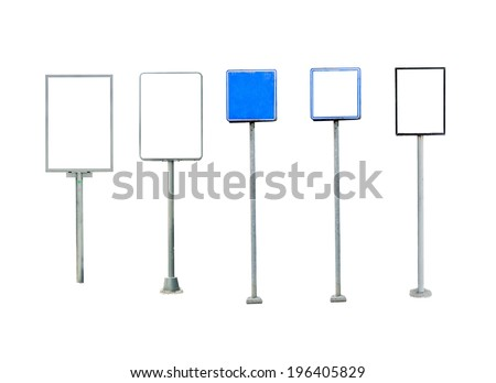 Collection of billboard, banner, empty place for ad isolated on white background. - stock photo