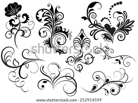 Collection of black and white floral design elements. - stock photo