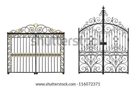 Collection of black forged gates isolated on white background
