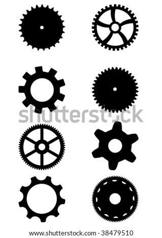 Collection of black gears. White background. - stock photo