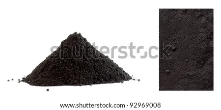 Collection of black powder isolated on white