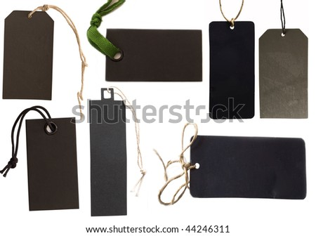 collection of black tags or address labels - stock photo