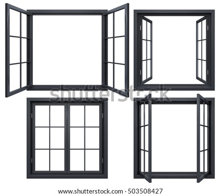 Collection Black Window Frames Isolated On Stock Illustration ...