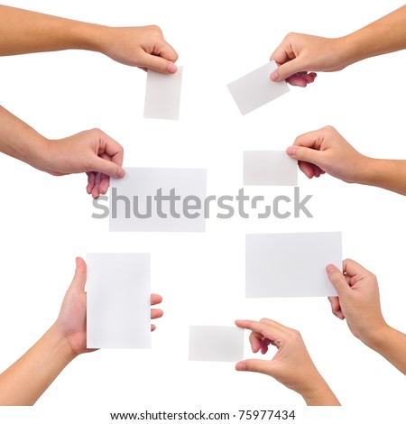Collection of blank cards in a hand isolated on white - stock photo