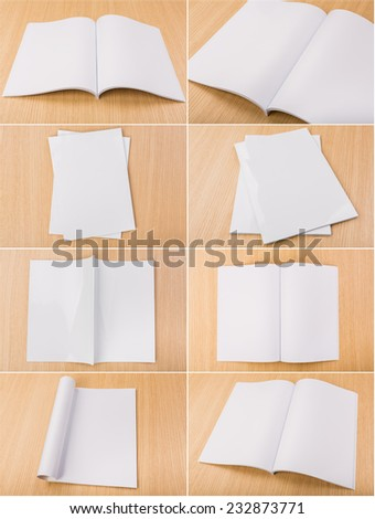 Collection of Blank catalog, magazines,book mock up on wood background - stock photo