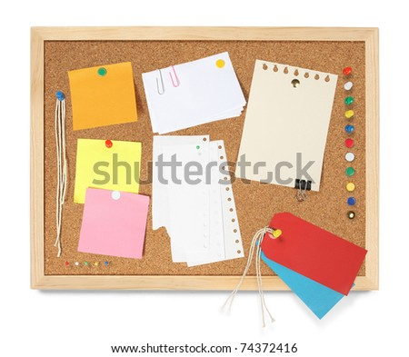 Collection of blank communications, pinned to a cork notice board and isolated on white. - stock photo