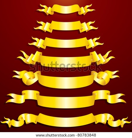 Collection of Blank Golden Banners, clip art for your design - stock photo