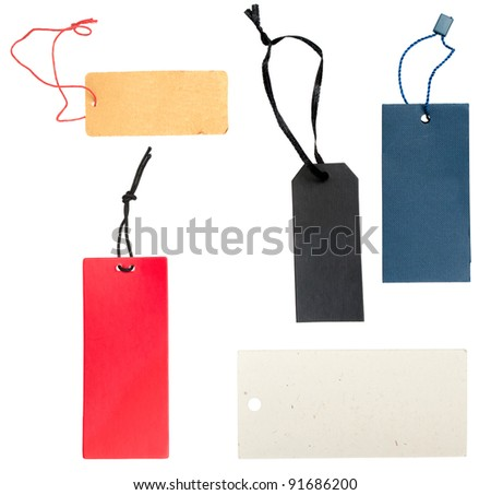 Collection of Blank Paper Tags Isolated on White