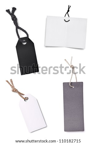 collection of blank price labels on white background - stock photo