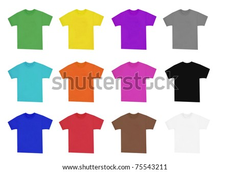 collection of blank shirts with short sleeves in vivid colors - stock photo