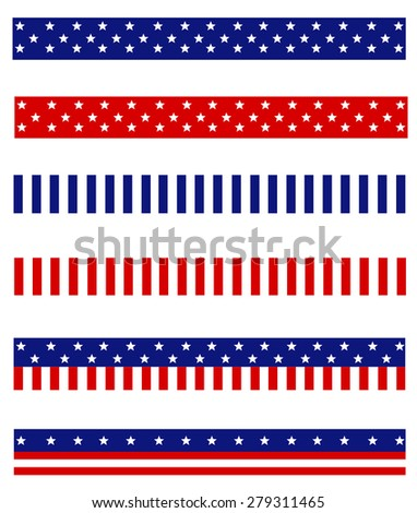Collection of Blue and red patriotic stars and stripes background frames / page dividers - stock photo
