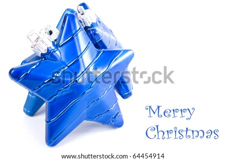 Collection of blue decorations for the Christmas tree