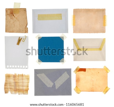 Collection of blue paper note, postcard and tags - stock photo