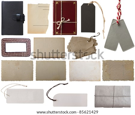 collection of book covers, tags and notes - stock photo