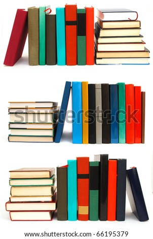 Collection of book piles on white table - stock photo