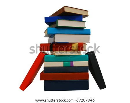 Collection of books on exams - stock photo