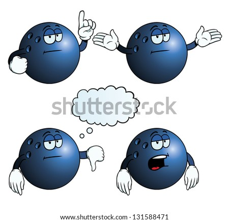 Collection of bored bowling balls with various gestures. - stock photo