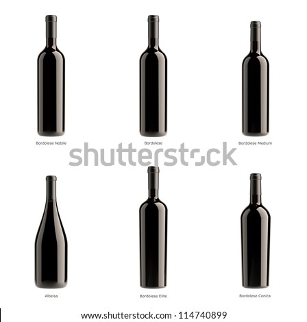 collection of bottles of red wine on a white background isolated. - stock photo