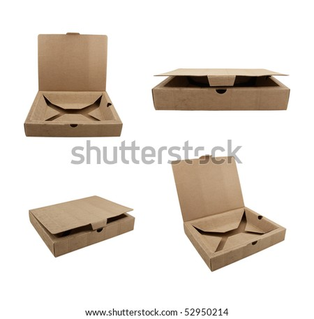 Collection of boxes made from corrugated cardboard - stock photo