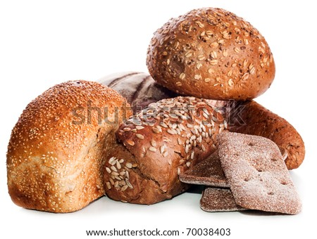 collection of bread : Loaf of rye bread soft tasty poured by sunflower seeds of a sunflower and a round loaf on a background isolated on a white background - stock photo