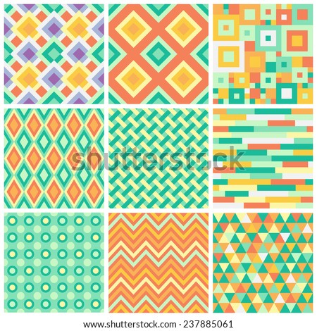 Collection of bright simple seamless patterns with geometric ornament. Colorful zig zag, argyle, triangles and squares mosaic tileable backgrounds