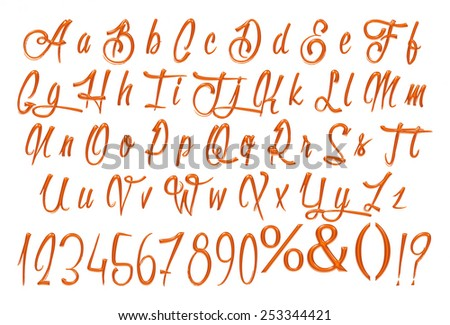 collection of brown metallic letters from English alphabet all rasterized plus symbols - stock photo