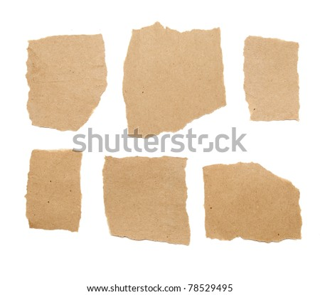 collection of brown ripped pieces of paper on white background - stock photo