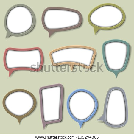 Collection of bubbles for speech. Raster version - stock photo