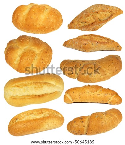 Collection of buns and rolls isolated on white - stock photo