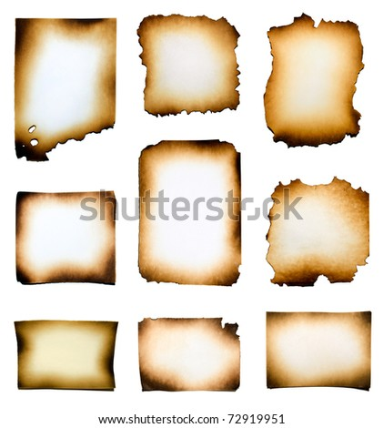 Collection of burnt papers isolated on white background - stock photo