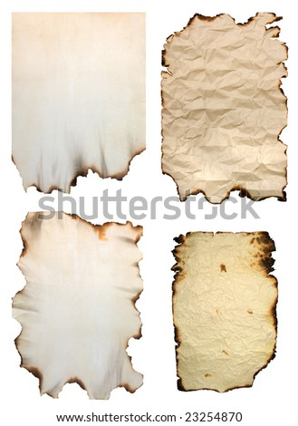 Collection of burnt vintage paper isolated on white - stock photo