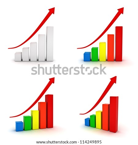 Collection of business graphs with red rising arrow isolated over white background - stock photo