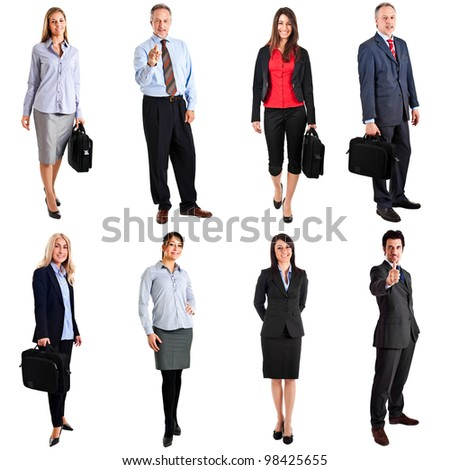 Collection of business people portraits - stock photo
