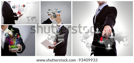 Collection of business people use modern technology