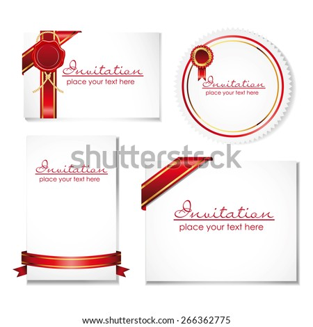 collection of card note with ribbon and wax seal - stock photo