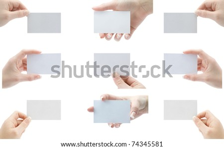 collection of cards blank in a woman's hands - stock photo