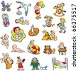 Collection of cartoon drawing of children, babies, different activities, raster from vector illustration - stock