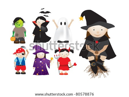 collection of cartoon halloween and party dressing up kids - stock photo