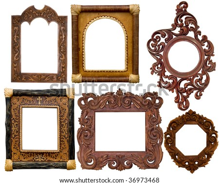 collection of carved decorative  frames
