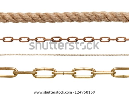 collection of  chains and ropes on white background. each one is in full cameras resolution - stock photo