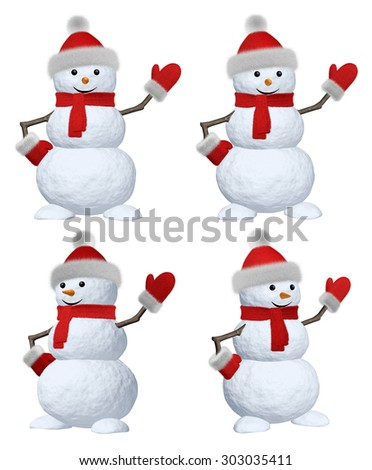 Collection of cheerful snowman with red fluffy hat, scarf and mittens pointing to something 3d illustration set - stock photo