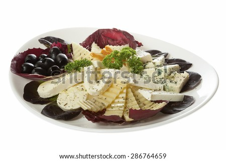 Collection of cheeses. Appetizer of five different kinds of cheese served on a white plate. Isolated on white.