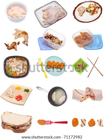 Collection of Chicken Themed Items Isolated on White. - stock photo