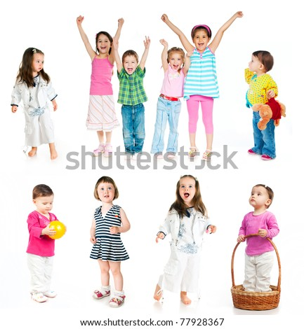 collection of children isolated on white background - stock photo