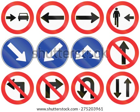 Collection of Chilean signs specifying or prohibiting driving directions. - stock photo