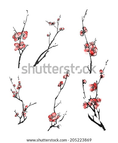 Collection of Chinese ink painting, plum blossom branches on white background. - stock photo