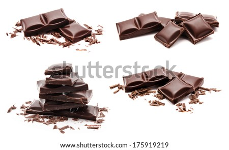 Collection of chocolate bars stack isolated on a white background  - stock photo