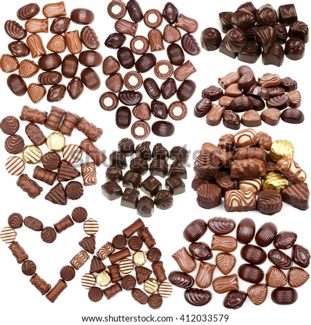 Collection of chocolate candies pictures isolated on white background - stock photo